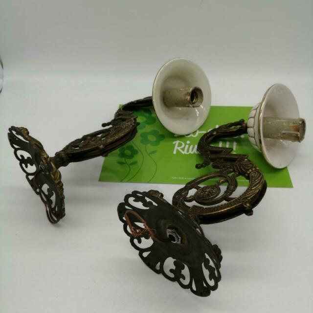 Applique coppia con base ceramica bianca /oro