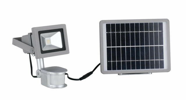 Proiettore Silver Con Sensore E Pannello Solare Tenuta