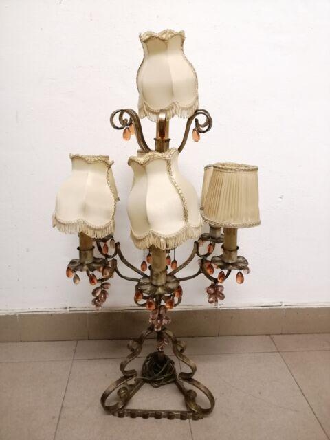 Antica lampada da tavolo 80hx45 con paralumi e gocce