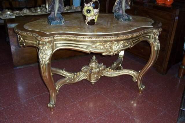 Tavolo dorato con marmo di onice