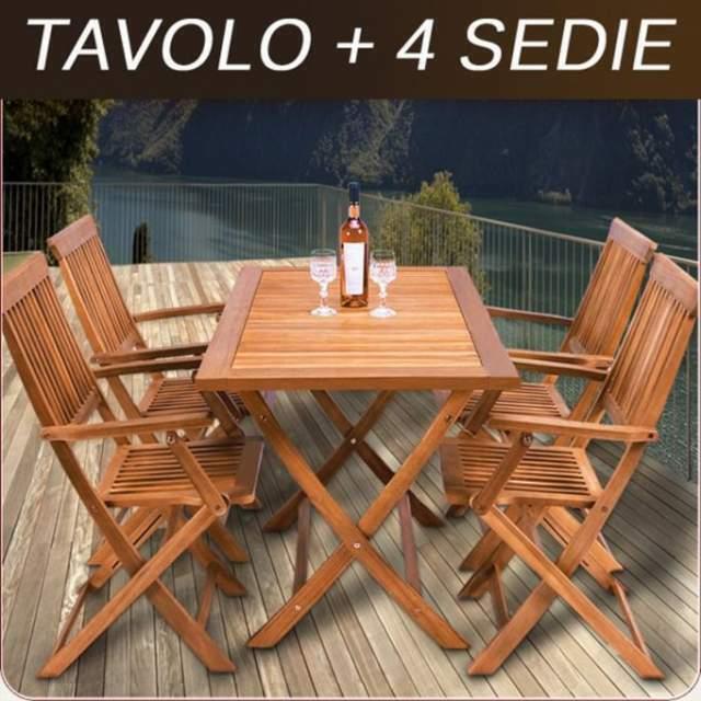Tavolo e 4 sedie in legno per esterno giardino balcone