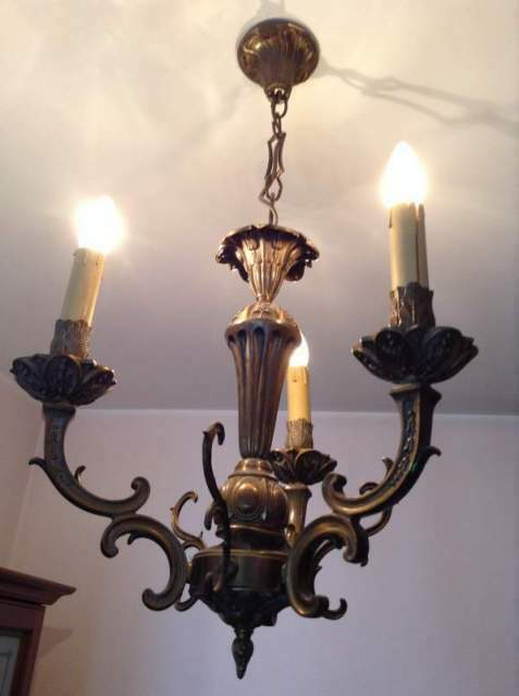 Lampadario in ottone vintage