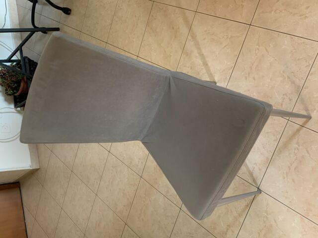 Set di 4 sedie in stoffa grigio ferro ed acciaio