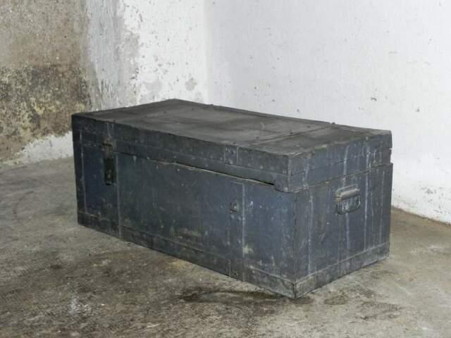 Baule, cassapanca in legno e ferro, vintage industriale 72