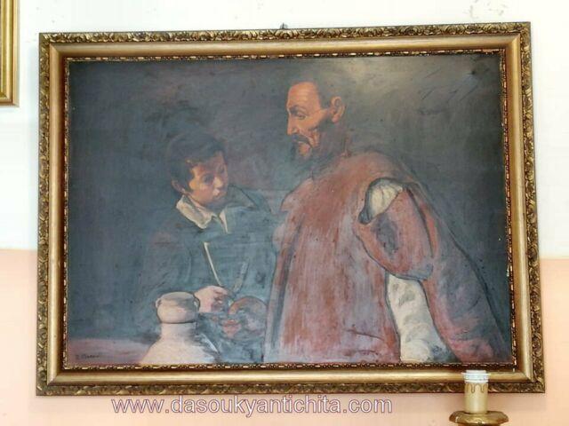 Dipinto olio su tela raffigurante l'acquaiolo firmato