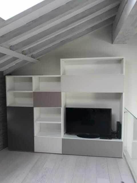 Mobile soggiorno moderno l 180 cm bianco laccato 🥇 | Posot ...