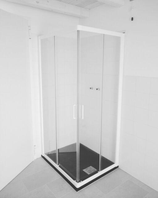 Box doccia bianco + piatto nero 100x80