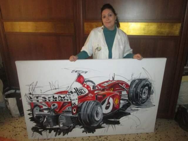 Ferrari dipinto ad olio su tela