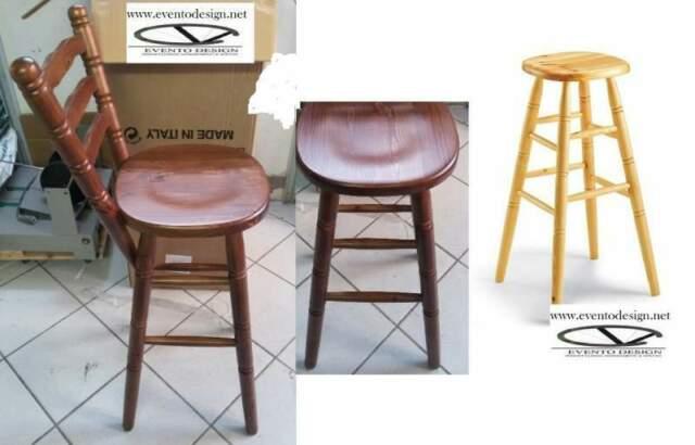Sgabello alto con schienale seduta legno