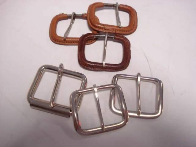 6 fibbie in metallo per cinture, 3 rivestite in pelle