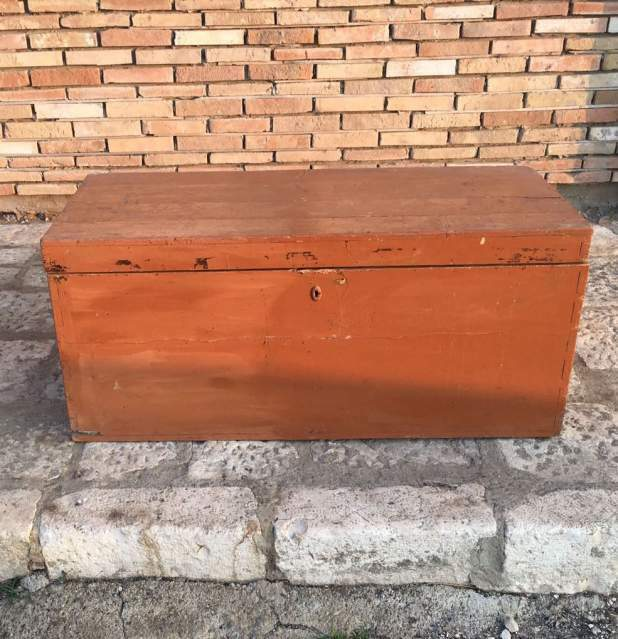 Antica cassa panca cassapanca dispensa baule in legno