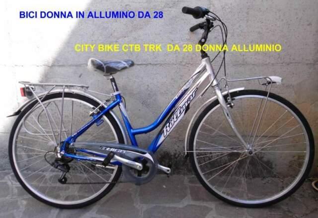 Bici da donna 28 city bike alluminio argento blu