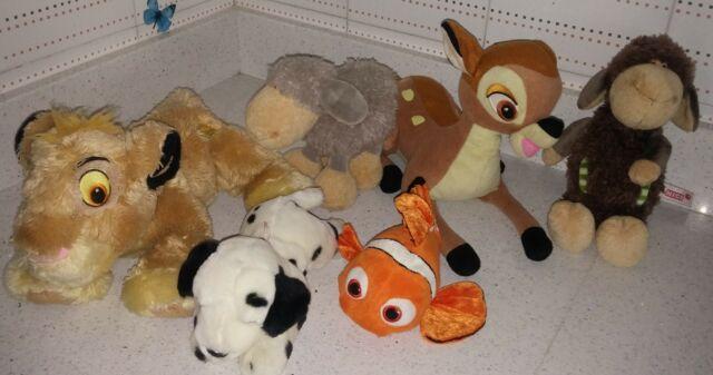 LOTTO 6 peluche Disney re leone, Bambi, Nemo, pecore Nici,