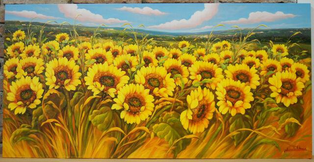 GIRASOLI - Dipinto olio su tela cm. 120 x 60