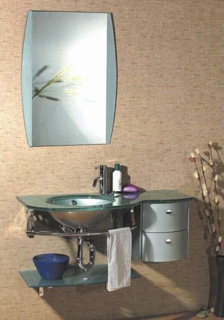 Mobiletto bagno con lavabo in vetro - NUOVO-