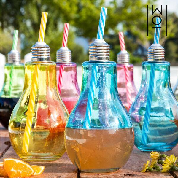 Bicchieri lampadina colorati con cannucce wagon trend 400 ml