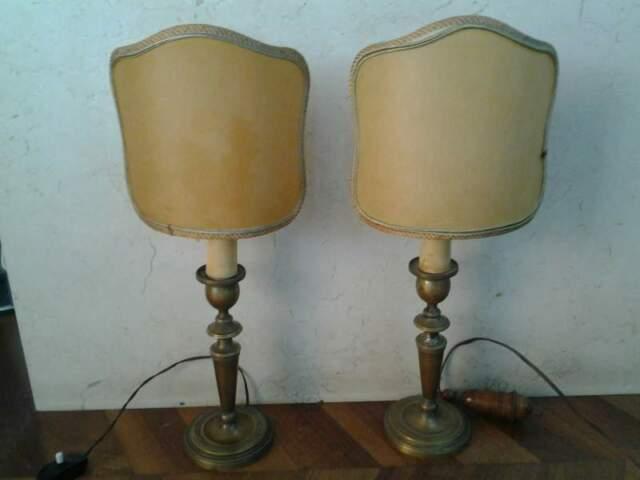 Coppia di lampade in ottone impero
