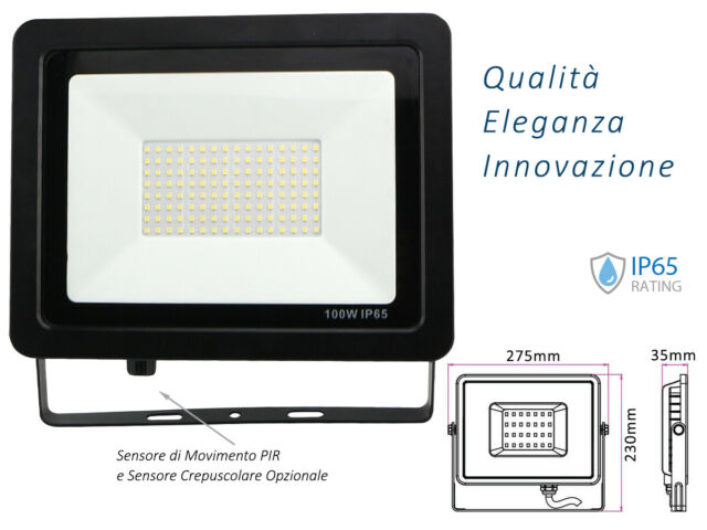 Lux fen faro led flood light slim 100w ip65 bianco
