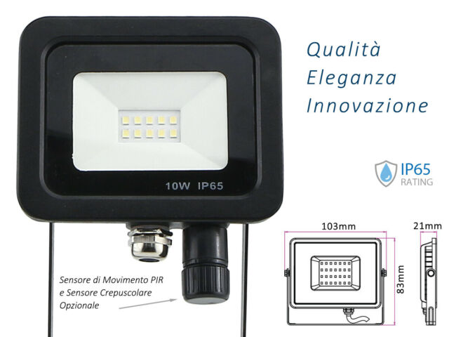 Lux fen faro led flood light slim 10w ip65 bianco