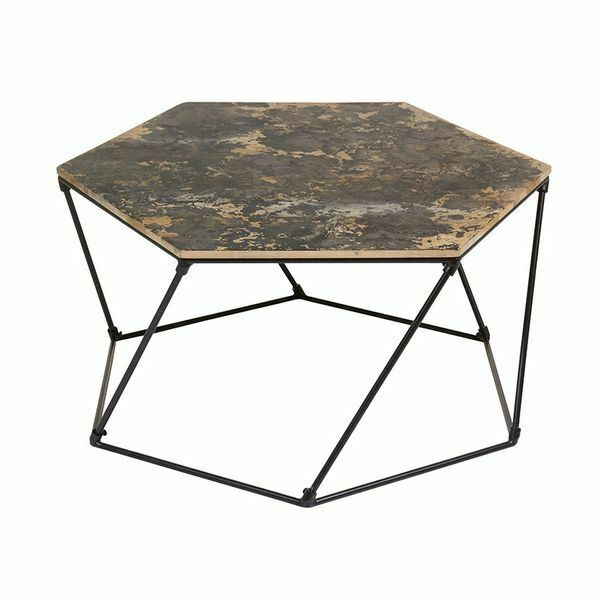 Tavolino da caffè (90 x 90 x 45 cm) ferro legno di mango