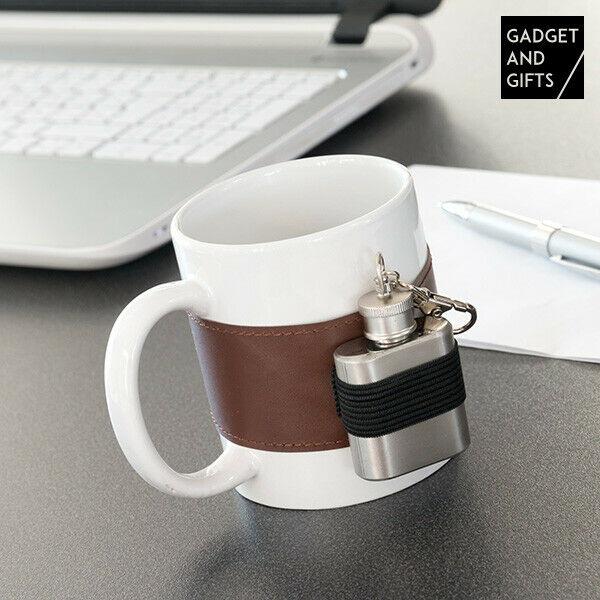 Tazza in ceramica con fiaschetta in metallo gadget and gifts