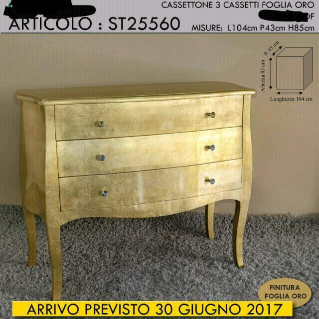 Como' cassettone legno foglia oro CON SPEDIZIONE