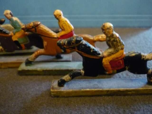 Five Horses Figure in Wood Hand painted, Art Deco