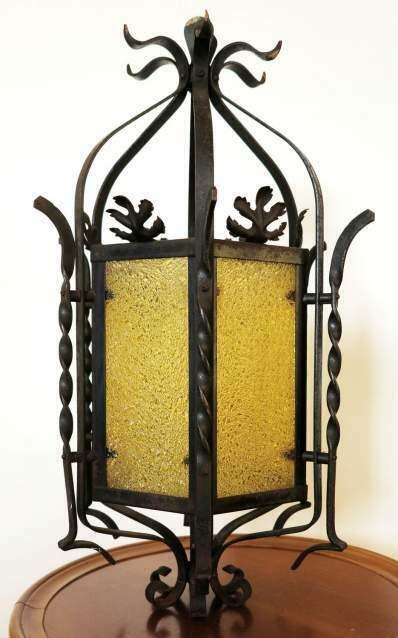 Lampadario, lanterna in ferro battuto primi 900