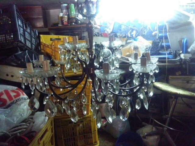 Lampadari di bronzo e gocce di cristallo 15 luci