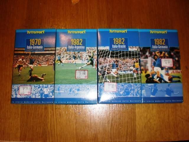 Lotto 4 vhs partite storiche nazionale di calcio -