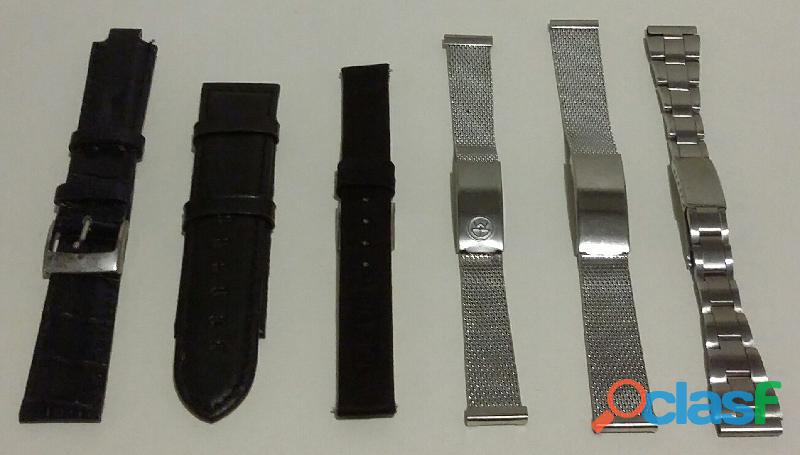 Stok di 6 cinturini per orologi: 3 in metallo e 3 in pelle