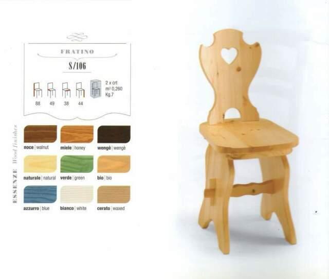 Sedia in legno rustica country vari colori