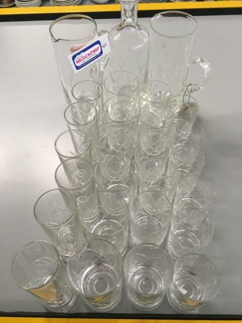 Servizio bicchieri pz.24+2 bott strisce intarsiate