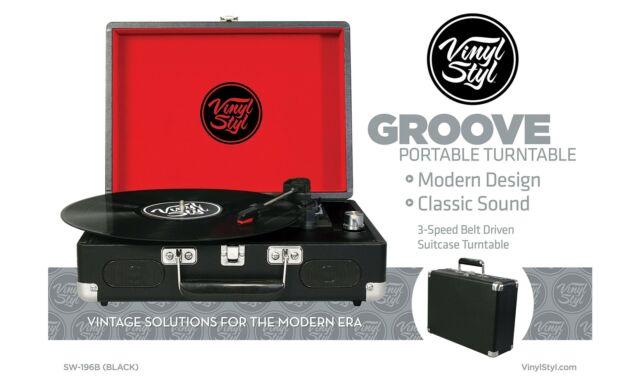 Gw jm vinyl styl turntable - black (valigetta