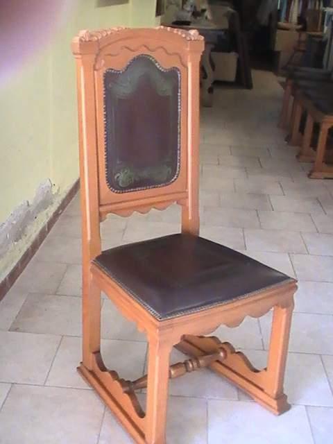 6 sedie in rovere e cuoio