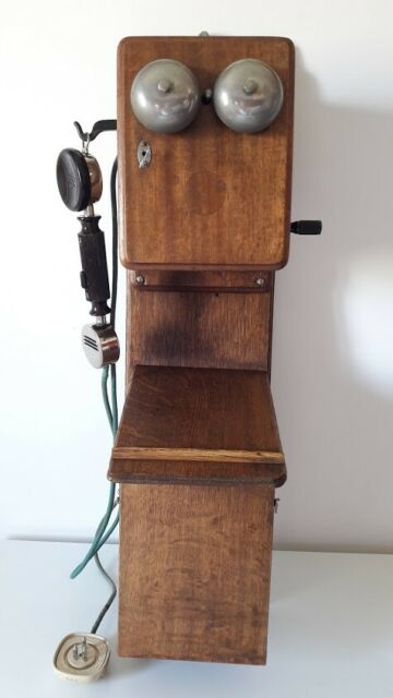Telefono francese antico originale e funzionante in legno