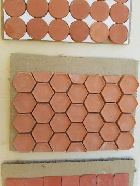 250 mattonelle esagonali 20 mm colore terravotta per