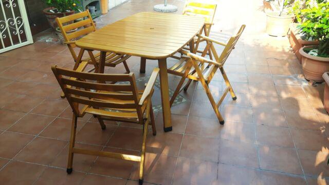 Tavolo legno massello per esterno, terrazzo
