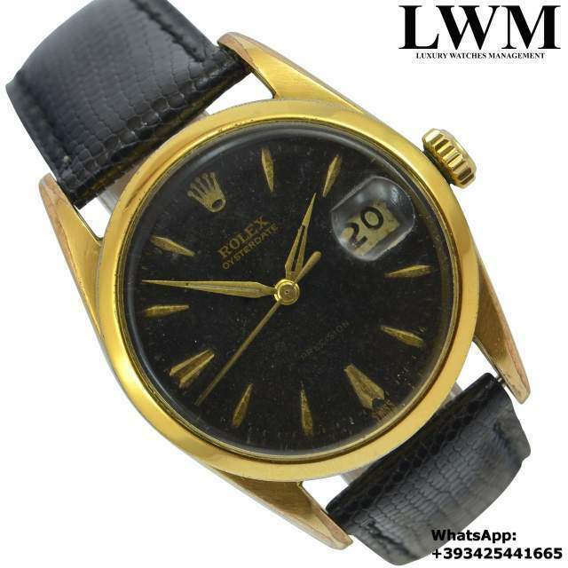 ROLEX Oyster Date  Precision gilt black dial Gold Plated