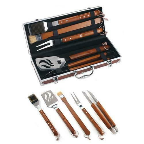 Set valigetta in radica da 5 pezzi in acciaio inox e manico