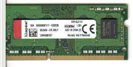 Memoria Ram KVR16LS11/4 Kingston So-Dimm Ddr3