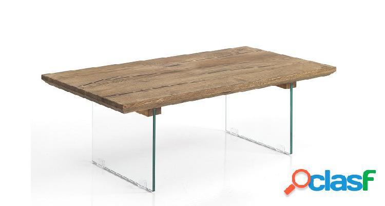 Tavolino da Soggiorno Rettangolare in Legno e Vetro