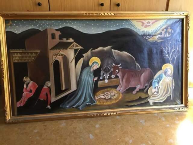 Nativita' di Gesu' copia riproduzione olio su tela
