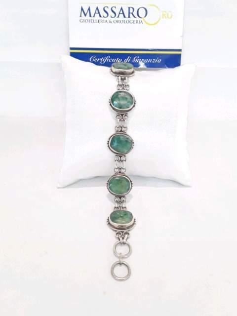 Bracciale in argento 925 con pietre di malachite.