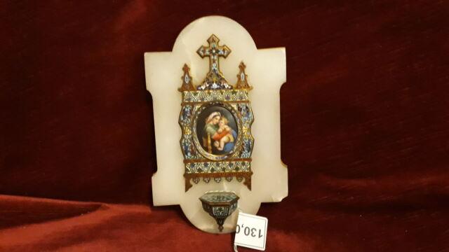 934 - acquasantiera madonna smalti su base marmo