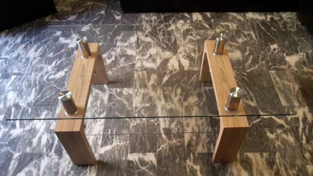 Tavolino da soggiorno in vetro e legno