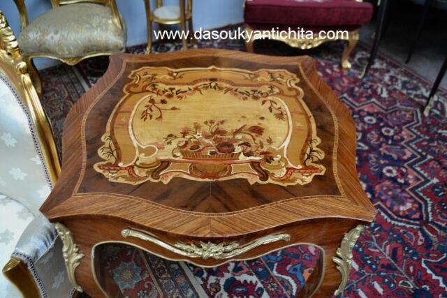 Tavolino quadrato stile Luigi XV intarsiato