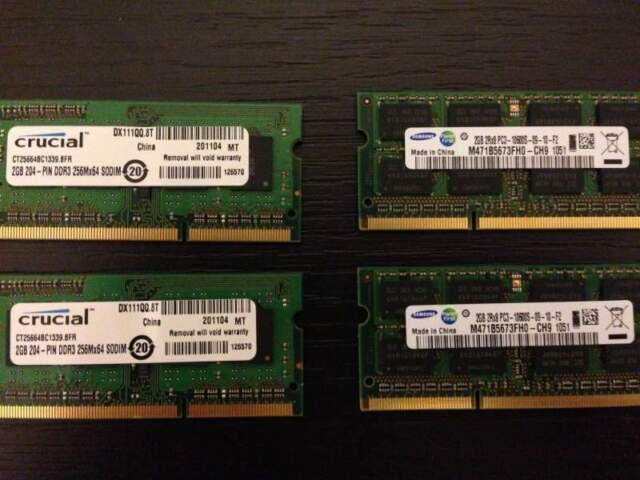 Memoria RAM 4GB 2x2 DDR3 Samsung Crucial PC3 CL9
