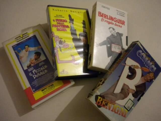 Lotto di 4 videocassette VHS di Roberto Benigni