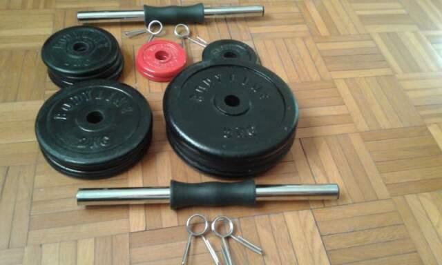 2 manubri + 34 kg PESI DISCHI in GHISA x PALESTRA con foro